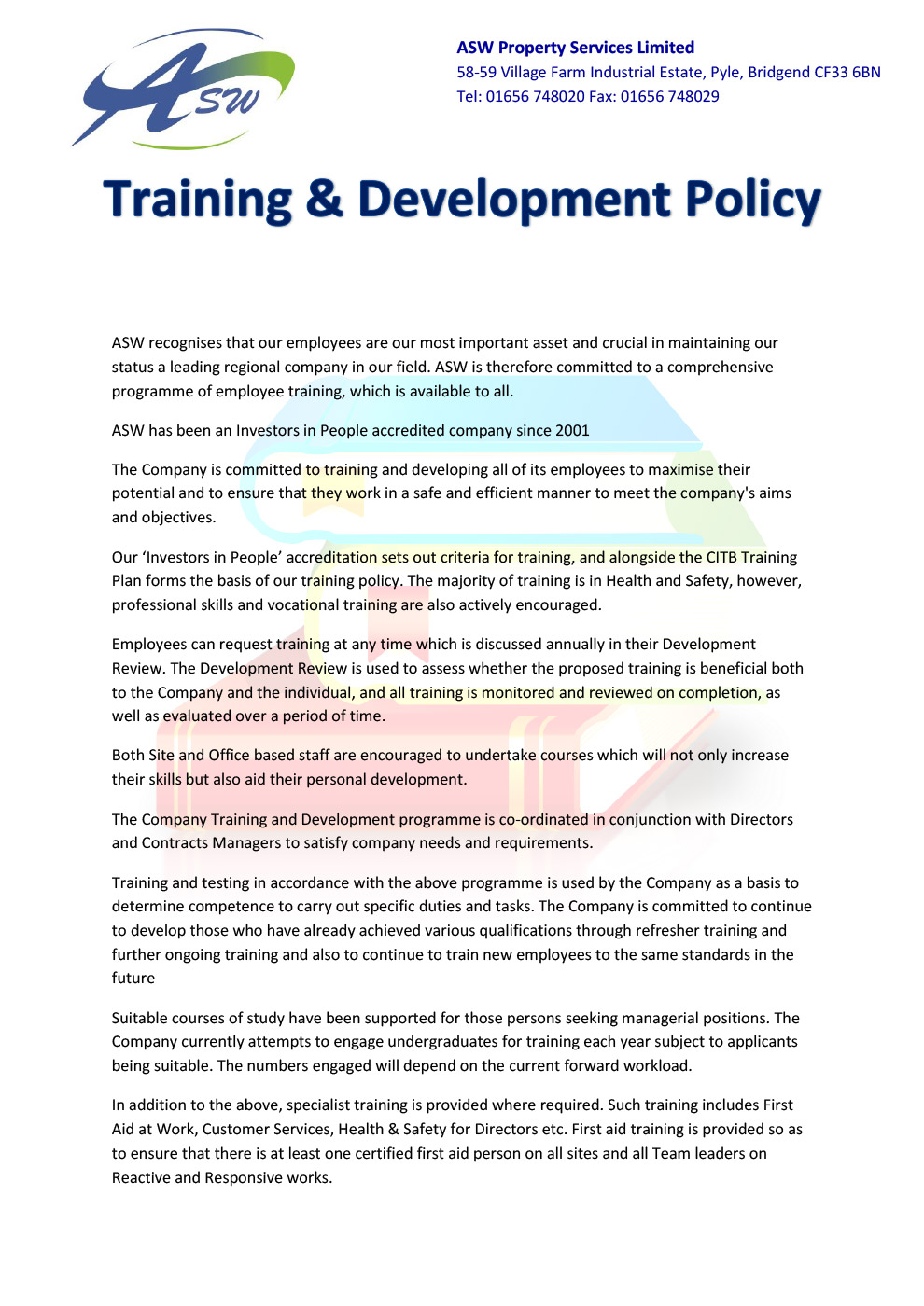 Company policies asw property services ltd asw training and development policy 2016 edition 1 xflitez Image collections